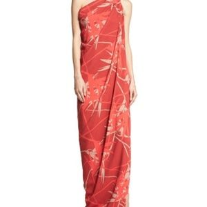Halston Heritage One Shoulder Draped Gown